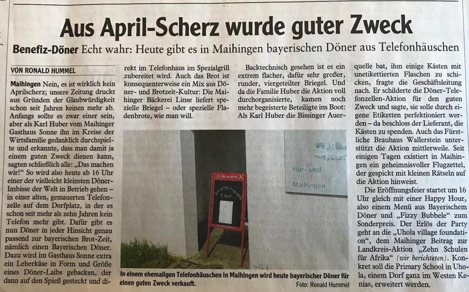 Zeitungsartikel Bayerischer Döner